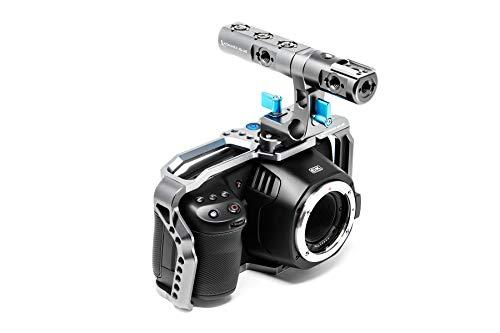 KONDOR BLUE BMPCC 6K 4K Full Cage for Blackmagic Pocket Cinema Camera 4K/6K with Top Handle, NATO Rails, Cold Shoe, Bubble Leveler and Optional T5 Holder, Baseplate & More (Full Cage Rig, Space Gray)