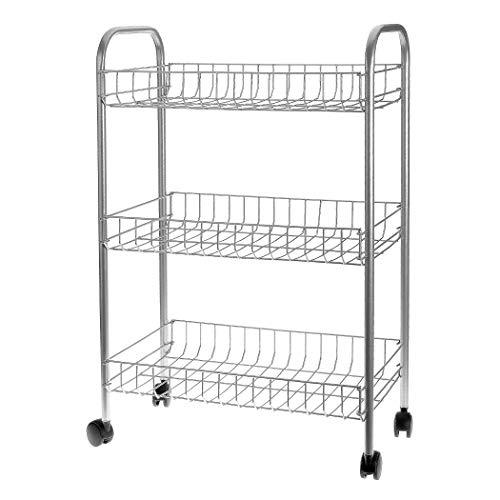 Küchenrollwagen - Das kleine Stauraum-Wunder passt in jede Nische - Rollregal aus Metall - Küchenwagen mit Rollen, 3 Etagen