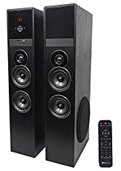 """in budget affordable Rockville TM80B Black 8 """" Sub / Bluetooth / USB Home Theater Tower Speaker"""