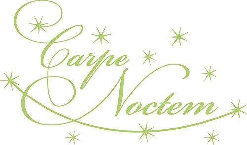 GRAZDesign Wandtattoo mit Glitzersteinen Carpe Noctem, Klebefolie Sterne für Schlafzimmer, Wandtattoo übers Bett / 85x50cm