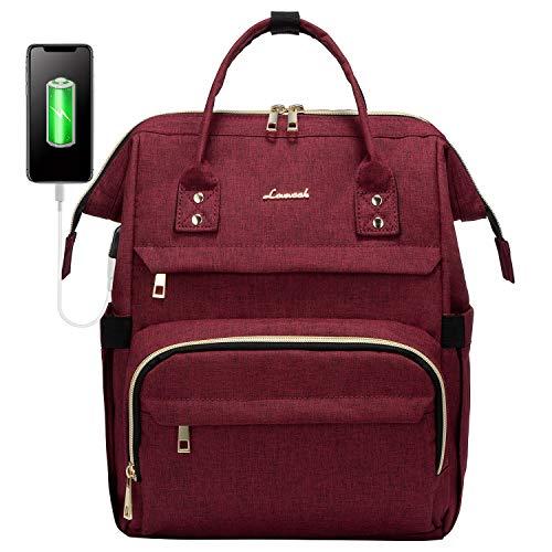 LOVEVOOK Damen Rucksack für 14 Zoll Laptop, Wasserdicht Schulrucksack mit USB Ladeanschluss, Elegant Laptoprucksäcke für Uni Schule Reise Business, Weinrot
