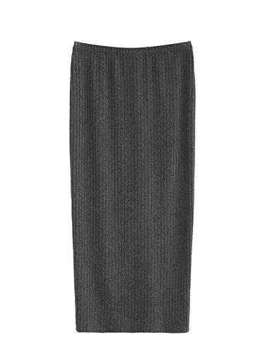 SheIn Women's Basic Plain Stretchy Ribbed Knit Split Full Length Skirt Grey Medium