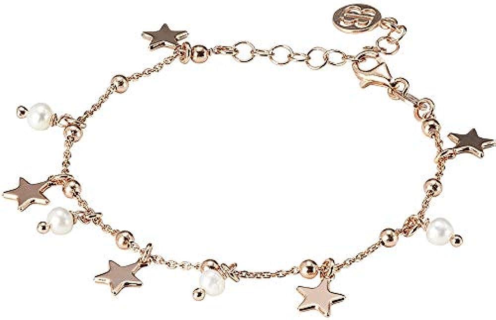 Boccadamo, bracciale per donna,in argento 925  placcato oro rosa con perle naturali pendenti Br562Rs