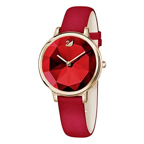 SWAROVSKI Reloj Crystal Lake, correa de piel, rojo, tono oro rosa PVD, 5415999
