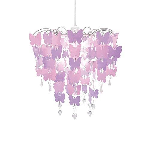 Lámpara de araña colgante, fácil ajuste, universal (diseño de mariposas, color rosa)