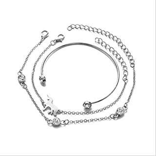3 قطع / مجموعة يونيكورن الحصان سحر أساور اليدوية الفضة أساور مجوهرات النساء فتاة الفضة