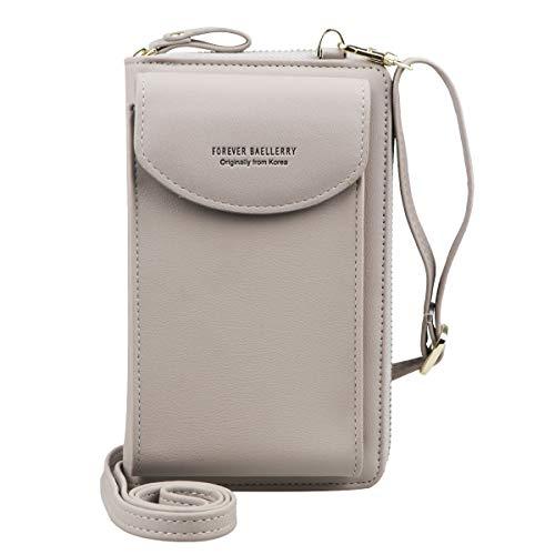 Jangostor kleine Crossbody Tasche Handy - Tasche Brieftasche mit Credit Card Slots für Frauen (Grey)