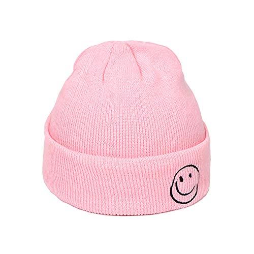 Wanghuiminwje, bestickte Smiley gestrickte Wollpullover Kopf neutral warm weiche Wintermütze, geeignet für Skibekleidung perfekte Accessoires-4