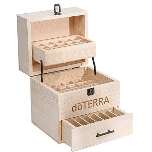 Trousses à maquillage Boîte à huile essentielle Boîte à huile essentielle de haute qualité Boîte de stockage à trois niveaux Réservoir d'huile grande capacité multicœur Treillis en bois massif Amovibl
