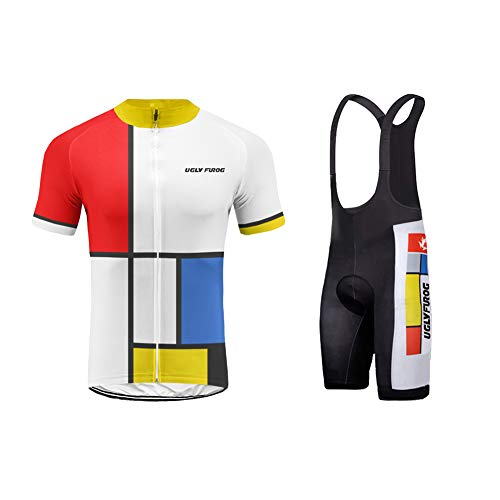 Uglyfrog Promi Plaid-Malerei Design Bike Wear-Radsport Anzüge Herren Radtrikot Kurzarm Fahrradkleidung Männer mit 3D Gel Sitzpolster für Radsport Rennrad