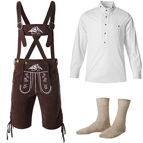 dressforfun 950003 Uomo Set Costume Tradizionale 3 Pezzi, Pantaloni Tirolesi Marrone, Camicia Manica Lunga, Calzini Corti -Disponibili in Diverse Misure (Pantaloni XXL | Camicia XXL| Nr. 350050)