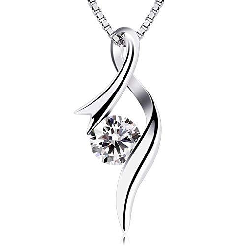 Atcool Collares de plata de lujo para mujer con colgante de corazón con circonitas cúbicas