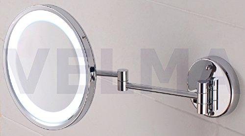VELMA - AKKU AROUND - LED110RC 7x - Beleuchteter Kosmetikspiegel mit wiederaufladbarem AKKU + neuester LED Technik - 7-Fach Vergrößerung - In alle Richtungen verstellbar - Komplett an die Wand klappbar - Hochglanz verchromtes Messing - Premium-Qualit