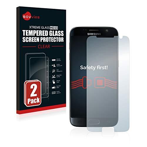 Savvies Panzerglas kompatibel mit Samsung Galaxy S7 (2 Stück) - Echt-Glas, 9H Festigkeit, Anti-Fingerprint