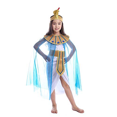 Amycute Traje Disfraz de Princesa egipcia de Reina, Cosplay Disfraz de Reina de Egipto para niña para Escenario Juego Tema Fiesta Mascarada(Apto para Altura 100-120cm)
