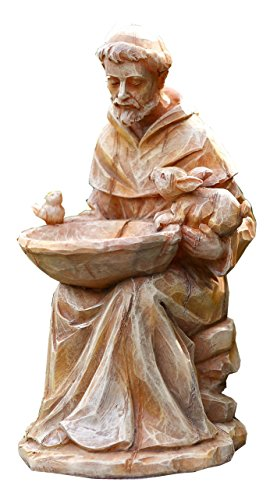 """Napco 18062 Sitting St. Francis with Animals and Bird Feeder Garden Statue, 11.5"""""""