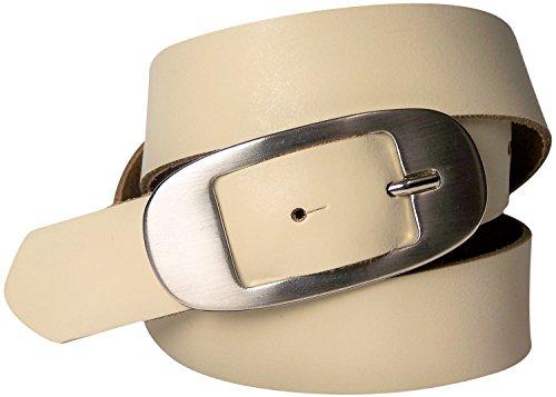 FRONHOFER schöner Gürtel 3 cm in Sommerfarben, Damengürtel, Ledergürtel mit ovaler Gürtelschnalle, 17651, Größe:Körperumfang 95 cm/Gesamtlänge 110 cm, Farbe:Creme