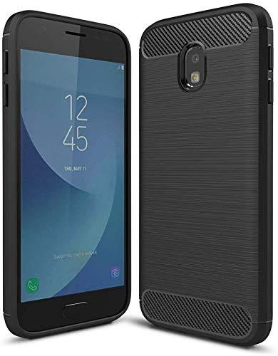 König Design Handy-Hülle kompatibel mit Samsung Galaxy J3 (2017) Silikon Hülle Hülle Sturzsichere Back-Cover Handyhülle - Carbon - Schwarz