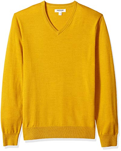 Amazon Brand - Goodthreads Men's Lightweight Merino Wool V-Neck Sweater, Yellow, X-Small