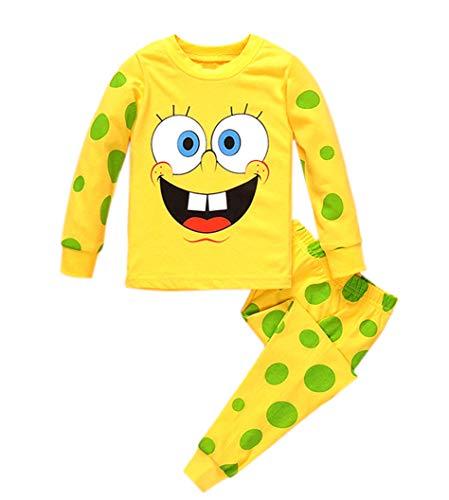 Rling Boys Pants 2 Piece Pajama Set 100% Cotton,Size 3-7Yrs (Spongebob, 3/4y)