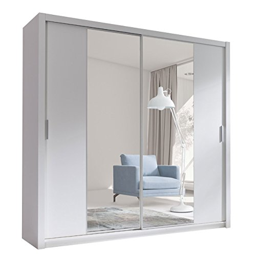 Kleiderschrank mit Spiegel Geodi, Elegante und Modernes Schwebetürenschrank, Schiebetür, Schlafzimmerschrank, Schlafzimmer, Jugendzimmer (200 cm,...