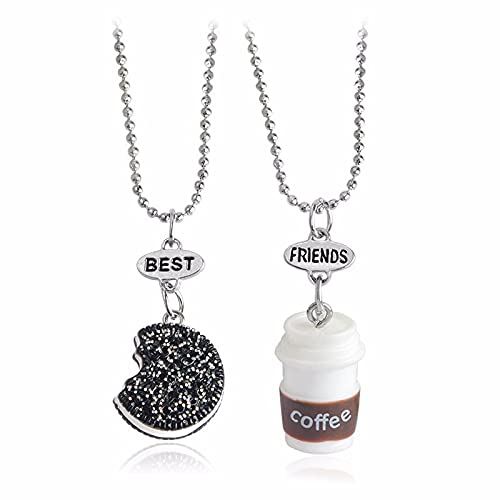 Three-Dimensional Coffee Cup OreoBest Friends Best FriendsPendant Necklace Set