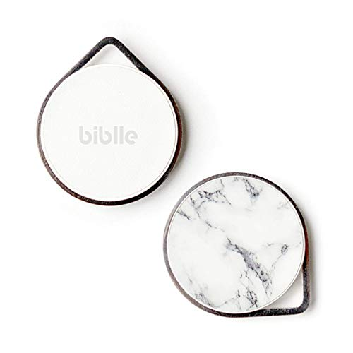 biblle LiTE(ビブルライト)大切なヒトやモノが見つかる忘れ物防止タグ 【日本メーカー製】【豊富なデザイン】【電池交換品】【防水規格IP66】 (marble white)