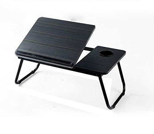 Folding Laptop Activity Tray, Black W/Cup & Electronic Device Holder, Adjustable & Portable Desk