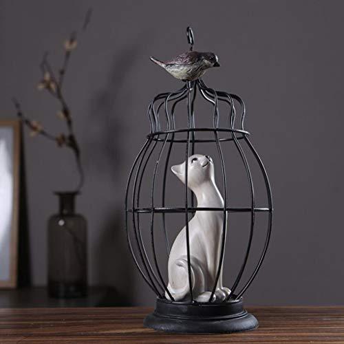 NA sculptuur ornamenten creatieve huis woonkamer tv-kast dressoir kitten vogel kooi decoraties vintage