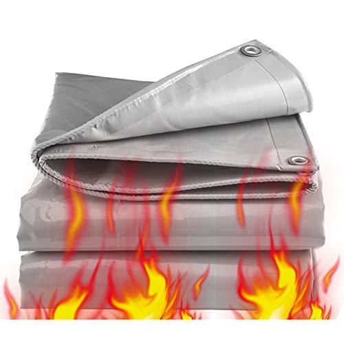 LSXIAO wasserdichte Plane - Feuerbeständige - Sonnenschutz Anhänger-Abdeckung PVC-Stoff Gummibeschichtung Rostfreie Ösen-Outdoor-Camping-Zelt, Lagerhalle, 17 Größen (Color : Gray, Size : 2.8x4.8m)