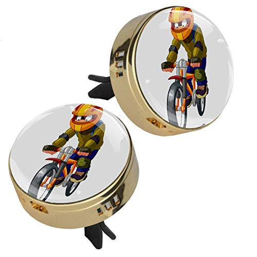 TIKISMILE Zinc Alloy Golden Car Aromatherapy Essential Oil Diffuser Young Boy On Mountain Bike Air Freshener Vent Clip with rubber cover 2 PCS (4 Refill Pads)