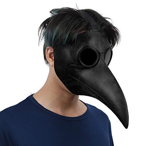 iEFiEL Plague Doctor Mask, Latex Halloween Horror Maske Pest-Maske Doktor Arzt Kopfmaske Party Fasching Cosplay Venedig-Maske Karneval Verkleidung Schwarz One Size