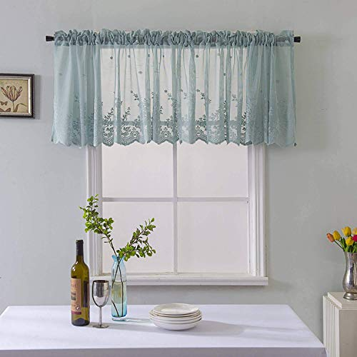 Teal Embroidery Valance Curtains Kitchen Lace Floral Embroidered Sheer Tulle Window Valances Rod Pocket Window Treatments Drapes and Curtains for Bedroom Nursery Living Room Windows 1 Panel,52x16 Inch