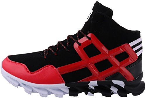 JOOMRA Men's Fashion Sneakers for Walking Jogging Gym Lace up High Top Spring Ankle Boots Leather Athletic Tennis Shoes Red Size 11