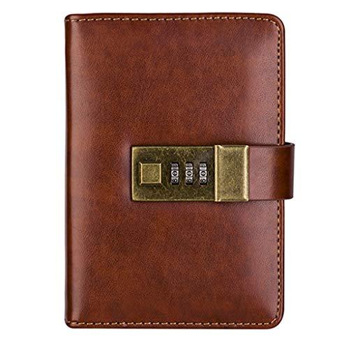ZANZAN Cuadernos de Notas A7 Leather Mini Notebooks contraseña Cerradura Diario Europea Retro Minimalista estética literaria Mano Libros Exquisito Diario blocs de Notas (Color : Brown)