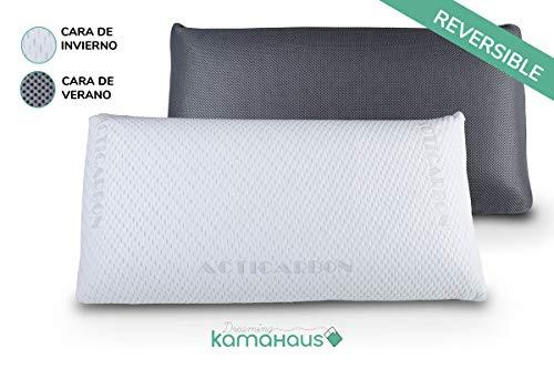 Dreaming Kamahaus Pack 2 Almohadas viscoelástica Carbono Activo 75cm   Núcleo indeformable   Hilo de Plata   Microperforada   Antiestrés   Funda con 2 Caras Invierno/Verano  