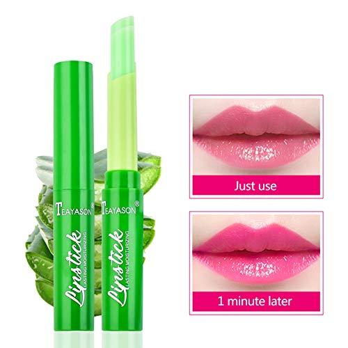 Allbestaye Aloe Vera Jelly Lippenstift Temperatur Farbe Ändern Lip balm Farbwechsel Lipgloss...