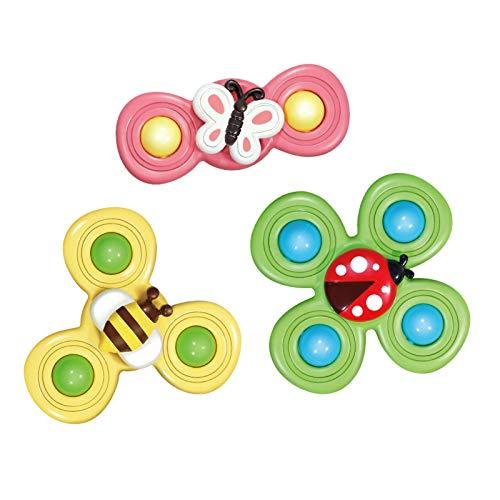 Saugnapf Kreisel, 3PCS / Set Baby Bad Spielzeug Spin Sucker Top Spinner Spielzeug Sicher Interessantes Gameplay Niedliche Cartoon Tier Saugspielzeug Für Baby Kinder