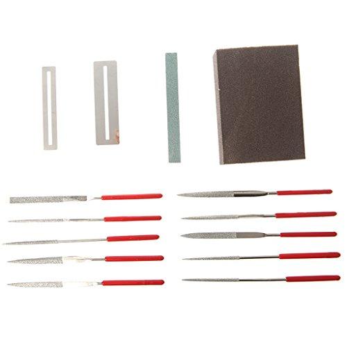 JOYKK 14 Stück Gitarre Instrument Repair Tool Kit Schleifstein Schwamm Frets Nut File Set - Multicolor