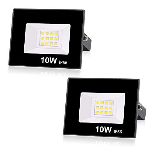 Lotto di 2 Outdoor Faretto LED da Esterno 10W 800LM, Faro LED Outdoor IP66 Impermeabile, 6000K bianco freddo Illuminazione per Terrazza, Giardino, Cortile, Parco, Garage