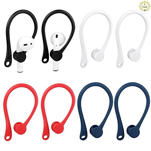 Fumanduo 4 Stück Ohrbügel Universal EarHooks Anti Drop Sport Ohrbügel Kopfhörer Zubehör Ohrhaken Kompatibel mit in Ear Kopfhörer Ohrhalter für Sport und Outdoor-Aktivitäten (Schwarz, Weiß, Blau, Rot)