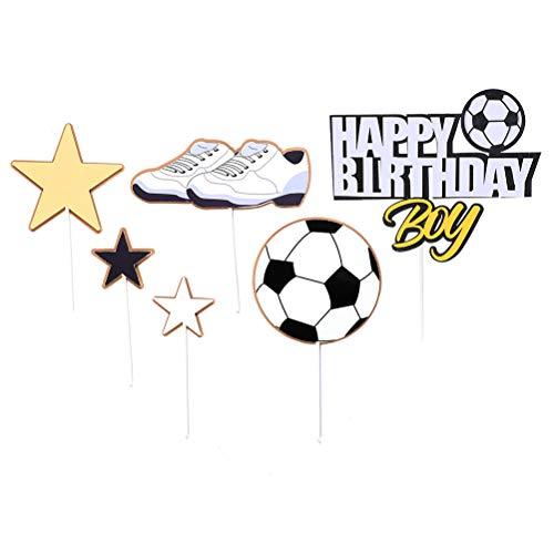 TOYANDONA Topper per Torte Cake Cupcake Topper Forma Calcio Decorazioni per Torte per Decorazioni Compleanno di Calcio 18 Pezzi