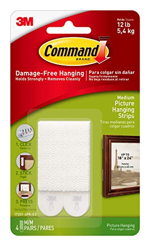 Command Picture Hanging Strips, Medium, White, 4-Strip, 6-Pack by Command