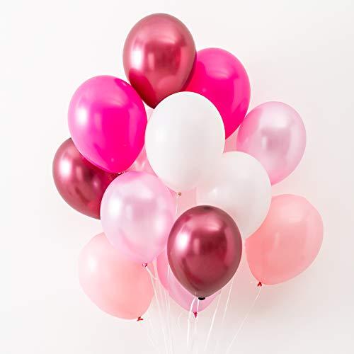 Konfetti & Bär - 42 Luftballons Rosa, Pink und Weiß für Geburtstag, Party oder Hochzeit