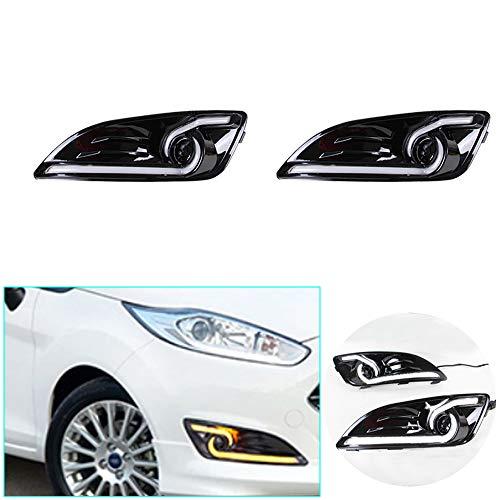 Tuqiang Tagfahrlicht für F-ord Fiesta 2012-2014 DRL LED Tagfahrlicht Auto Zubehör Blinker Nebelscheinwerfer Zweifarbig 1 Paar
