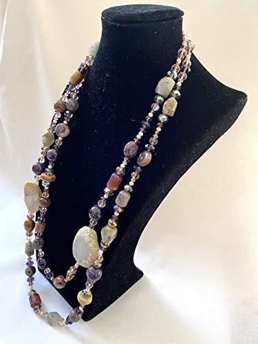 COLLAR DOBLE PIEDRAS NATURALES - collar con colgantes multicapa violeta, verde, rosa, burdeos, crema, lila - idea de regalo hecha a mano para mujer
