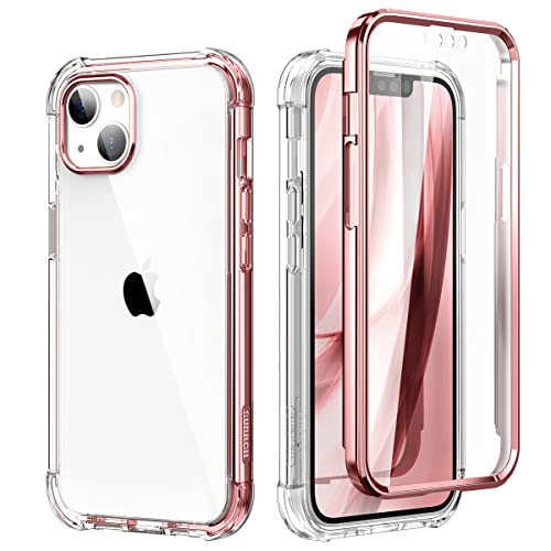 SURITCH Compatible with iPhone 13 Clear Case,[Built in Screen Protector] Full Body Protection Hard Shell+Soft TPU Bumper Shockproof Rugged Cover for iPhone 13 6.1 Inch (Rose Gold)