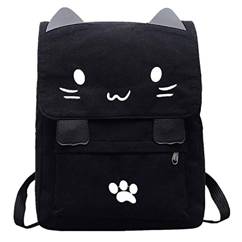Fashion Women Cartoon Canvas Backpack Cute Cat Embroidery School Bag College Satchel Travel Rucksack Girl