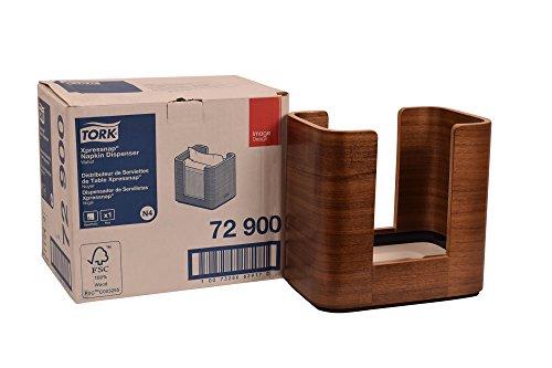 "Tork 72900 Image Xpressnap Napkin Dispenser, Wood, 7.6"" Height x 8.0"" Width x 5.5"" Depth, Walnut (Case of 1 Dispenser)"