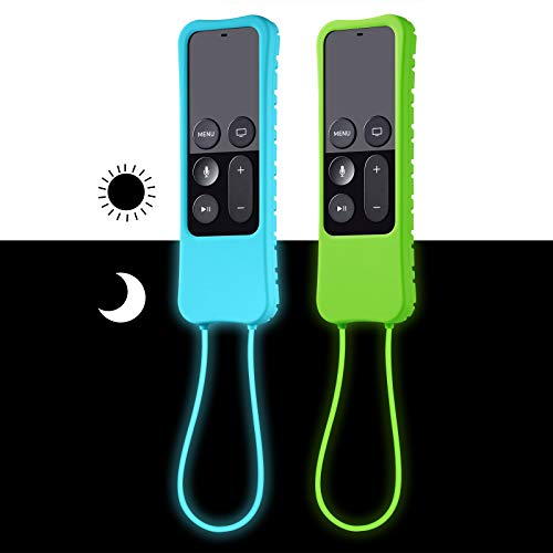 [2 Pack] ZYF Case for Apple TV 4K 5th / 4th Gen Remote, Anti-Drop, Anti-Lost Silicone Protective Cover for Apple TV Siri Remote Controller - Sky Blue Glow & Green Glow